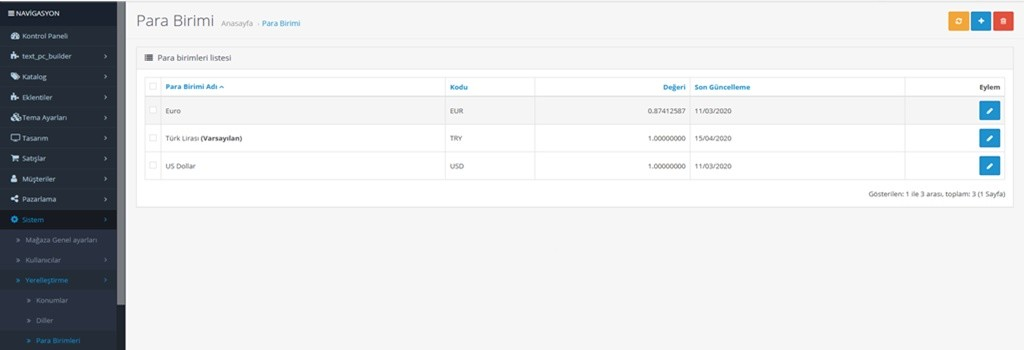 Opencar para birimlerini ekleme, düzenleme.