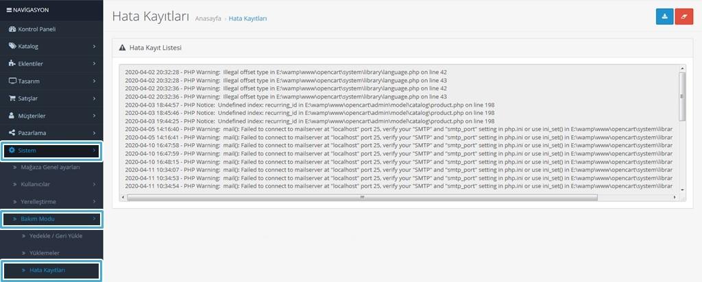 Opencart Hata Kayıtları