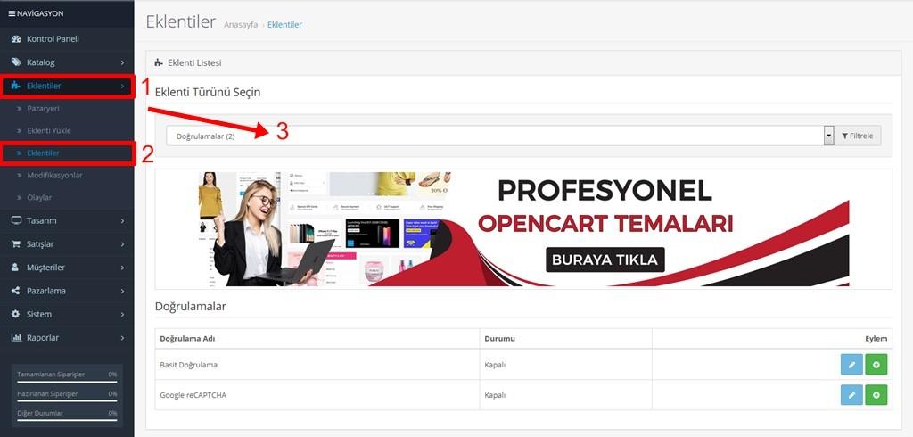 Opencart istenmeyen e-postaları ve üyelikleri engelleme