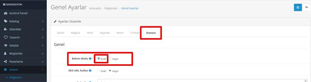 Opencart sitenizi bakım moduna alma işlemi nasıl yapılır?