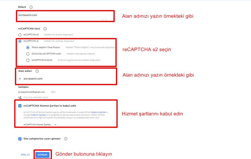Google reCAPTCHA admin kurulumu