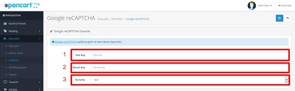Opencart Google reCAPTCHA Aktif Etme