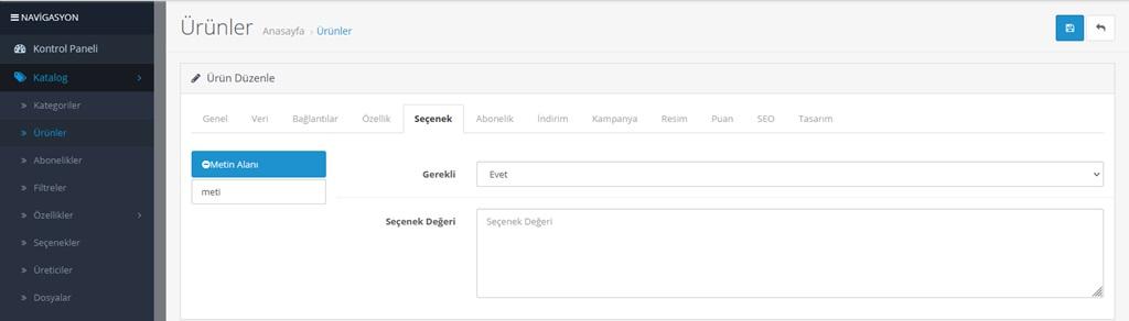 Opencart Ürün Sayfasına Yazı Alanı Ekleme