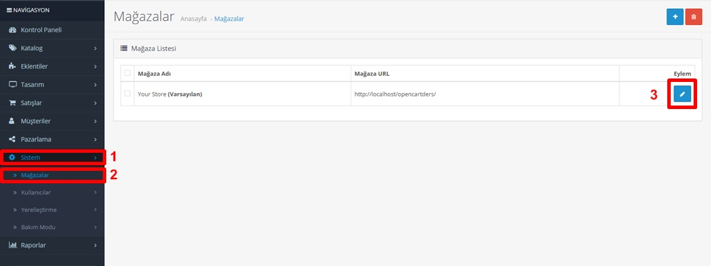 Opencart Php Mail Ayar Mağaza Ekranı