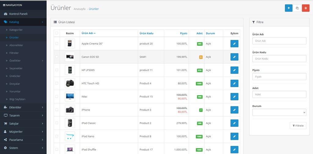 Opencart Yönetim Ürün Listeleme Sayısını Değiştirme