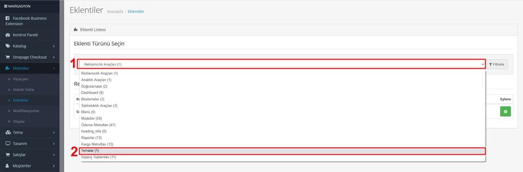 Opencart kategori ürün listeleme sayısını