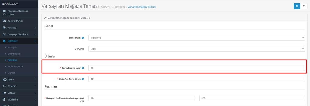 Opencart kategori ürün listeleme sayısını Değiştirme